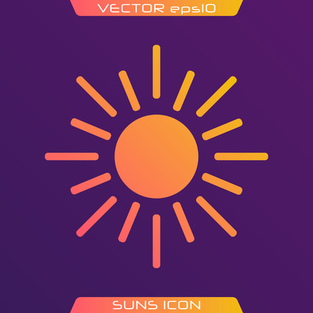 Flat sun icon. Sun pictogram. Trendy vector summer symbol for website design, web button, mobile app. Template vector illustration.