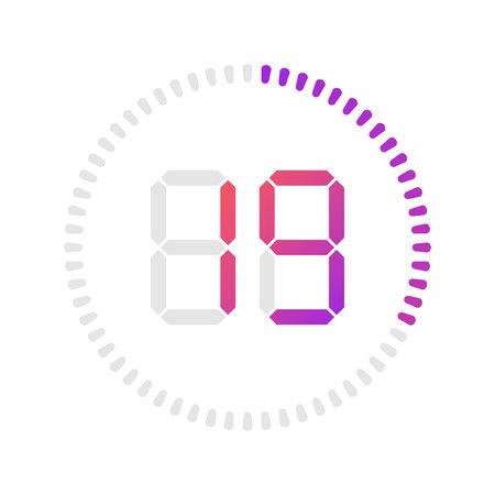 Die 19 Minuten, Stoppuhr-Vektorsymbol, digitaler Timer. Vector digitales Countdown-Kreisbrett mit Kreiszeit-Kreisdiagramm. Sehen Sie sich das Design im Umrissstil an, das für Web und App entwickelt wurde.