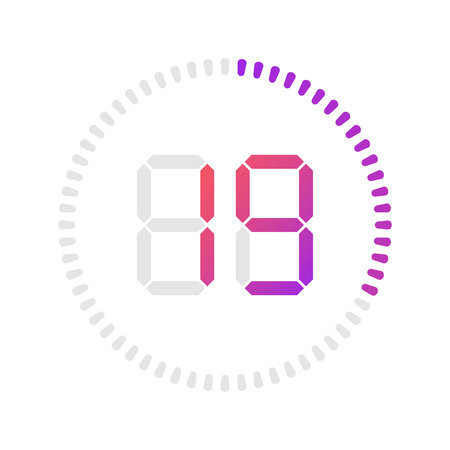 The 19 minutes, stopwatch vector icon, digital timer. Vector digital count down circle board with circle time pie diagram. Watch outline style design, designed for web and app. Иллюстрация