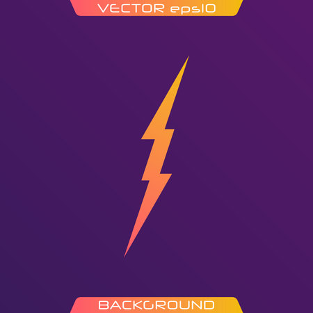 Lightning Bolt Minimal Simple flat symbol. Vector of Black Thunder Lighting Icons. Ilustração