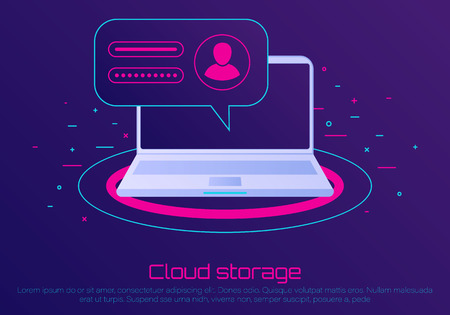 Desktop computer with unlocked password bubble notification. Cloud file storage. concept of security, personal access, user authorization, login form icon, internet protection. Иллюстрация