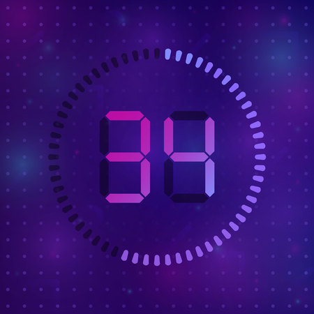 The 34 minutes, stopwatch vector icon, digital timer. Vector digital count down circle board with circle time pie diagram. Watch outline style design, designed for web and app.
