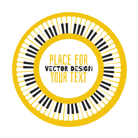 Grunge black and white piano keyboard. Piano on an orange background  Stock vector illustration for poster, music performance, jazz festival. Иллюстрация