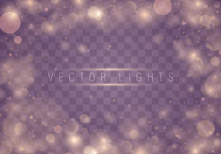 Light abstract glowing bokeh lights. Bokeh lights effect isolated on transparent background. Festive purple and golden luminous background. Christmas concept. Ilustração