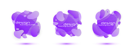 Set of Gradient abstract banners with flowing liquid shapes. Isolated dynamical art form. Template for the design of a logo, flyer or presentation.