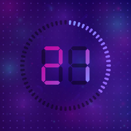 The 21 minutes, stopwatch vector icon, digital timer. Vector digital count down circle board with circle time pie diagram. Watch outline style design, designed for web and app.