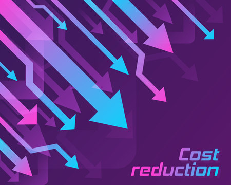Cost reduction concept. Business lost crisis decrease. Stock financial trade market diagram. Sales conversion idea thin line illustration.