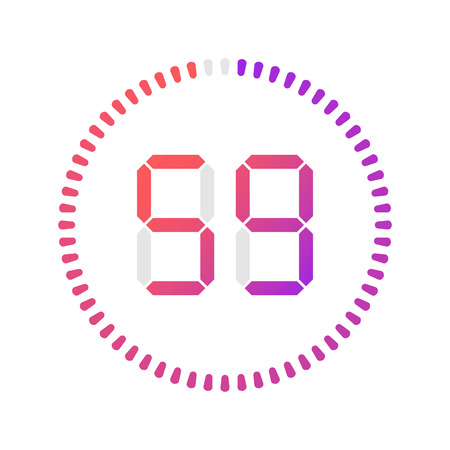The 59 minutes, stopwatch vector icon, digital timer. Vector digital count down circle board with circle time pie diagram. Watch outline style design, designed for web and app.