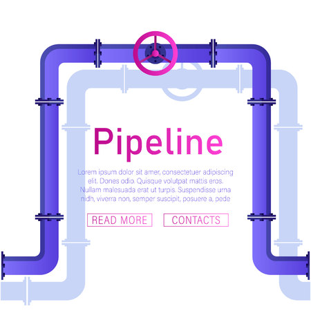 Pipeline design background pattern with pipe with valve vector illustration pipeline design.Valve, pipe connectors, meters, pipe details vector set.