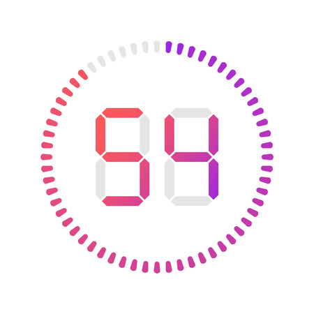 The 54 minutes, stopwatch vector icon, digital timer. Vector digital count down circle board with circle time pie diagram. Watch outline style design, designed for web and app.
