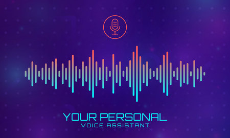 Sound wave vector abstract background. Technology music signal banner. Personal assistant and voice recognition concept. Intelligent technology vector background