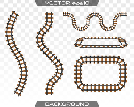 Straight tracks art design. Rails set on transparent background. Concept of train transportation, metro, logistics and railroad. Flat design. Ilustração