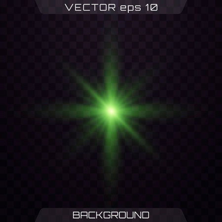 Green horizontal lens flares pack. Vector green glowing lights on transparent background. Spark, star burst, flash. Transparent shining sun, bright flash.