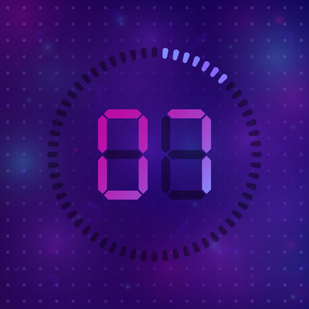 The 7 minutes, stopwatch vector icon, digital timer. Vector digital count down circle board with circle time pie diagram. Watch outline style design, designed for web and app. Ilustração