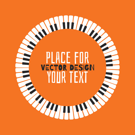 Grunge black and white piano keyboard. Piano on an orange background  Stock vector illustration for poster, music performance, jazz festival. Ilustração