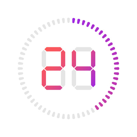 The 24 minutes, stopwatch vector icon, digital timer. Vector digital count down circle board with circle time pie diagram. Watch outline style design, designed for web and app.