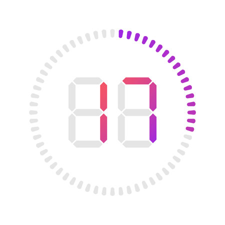 The 17 minutes, stopwatch vector icon, digital timer. Vector digital count down circle board with circle time pie diagram. Watch outline style design, designed for web and app. Illustration