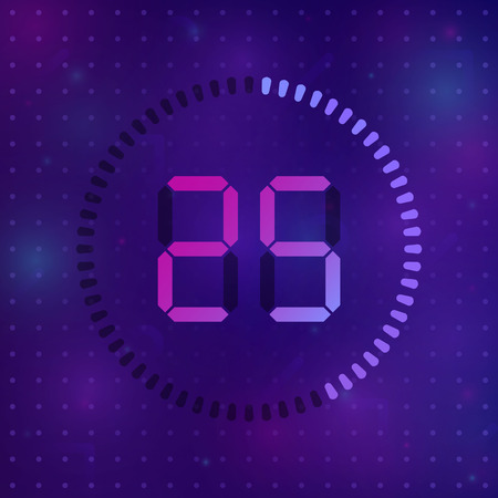 The 25 minutes, stopwatch vector icon, digital timer. Vector digital count down circle board with circle time pie diagram. Watch outline style design, designed for web and app. Illustration