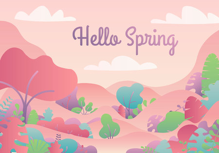 Hello Spring card with handwritten phrase, holiday poster. Decorative tropical jungle background. Background with copy space for text plants, leaves. Ilustração