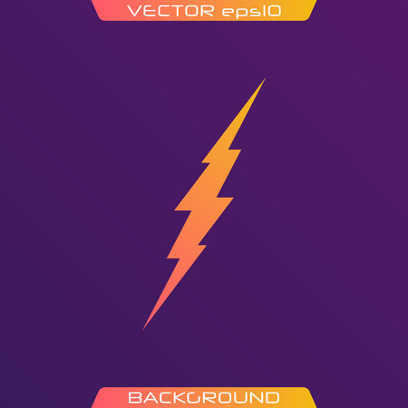 Lightning Bolt Minimal Simple flat symbol. Vector of Black Thunder Lighting Icons. Ilustração