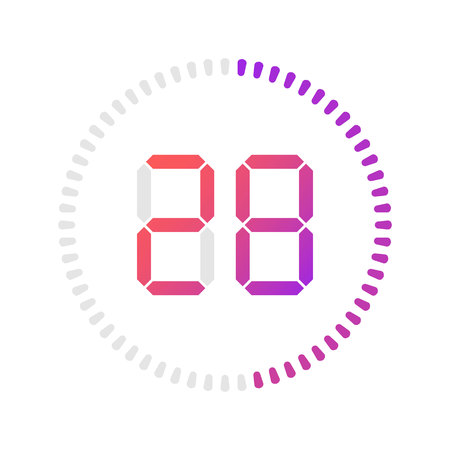 The 28 minutes, stopwatch vector icon, digital timer. Vector digital count down circle board with circle time pie diagram. Watch outline style design, designed for web and app.