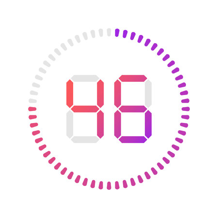 The 46 minutes, stopwatch vector icon, digital timer.Vector digital count down circle board with circle time pie diagram. Watch outline style design, designed for web and app.