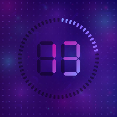 The 13 minutes, stopwatch vector icon, digital timer. Vector digital count down circle board with circle time pie diagram. Watch outline style design, designed for web and app.