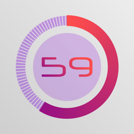 Colorful pie charts. Circular interval timer. Percentage vector infographics. Business infographics. Loading and buffering percentage icon set. Ilustração