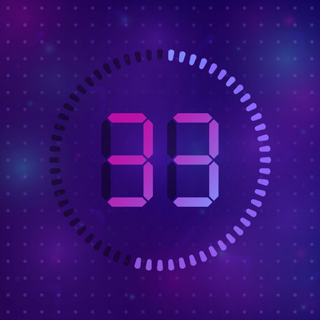 The 33 minutes, stopwatch vector icon, digital timer. Vector digital count down circle board with circle time pie diagram. Watch outline style design, designed for web and app.