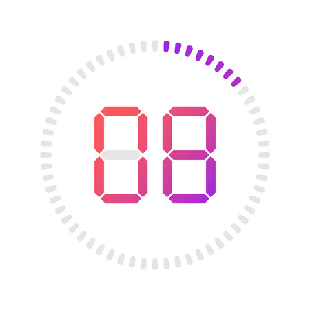 The 8 minutes, stopwatch vector icon, digital timer. Vector digital count down circle board with circle time pie diagram. Watch outline style design, designed for web and app. 矢量图像