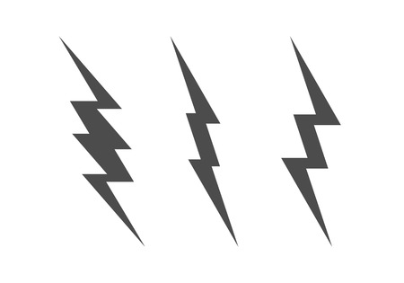Lightning Bolt Minimal Simple Symbol. Vector Set of Black Thunder Lighting Icons.