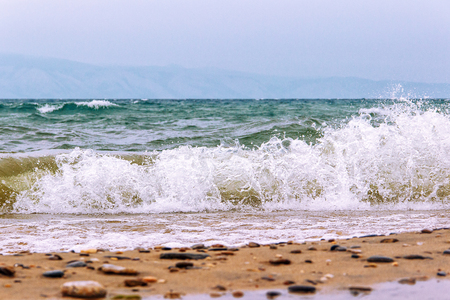 no movement: Landscape with the image bad weather, storm and waves on the lake Baikal