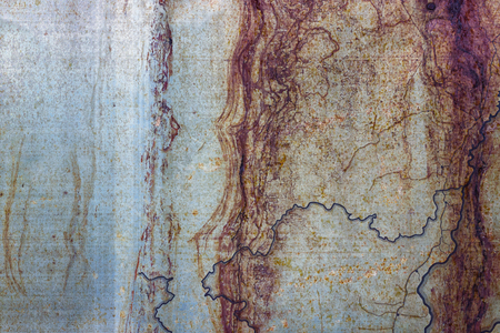Metallic rusted painted surface with corrosion and blue lines as texture or background. Fragment of the old contour map on a thin metal plate. Stock Photo