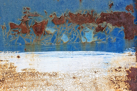 pitting: Painted white-blue metal background with cracked peeling paint and rusty spots. Old rusty metal wall as a background or texture. Stock Photo