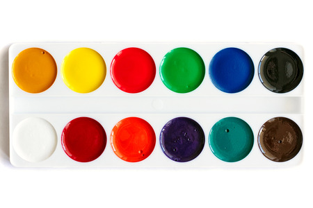 new palette watercolor paints, isolated Stock Photo