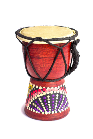 Jembe is an African drum. Traditional musical instrument isolated on white background.