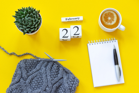 Wooden cubes calendar February 22nd. Cup of tea with lemon, empty open notepad for text. Pot with succulent and fabric on knitting needles on yellow background. Top view Flat lay Mockup Concept.