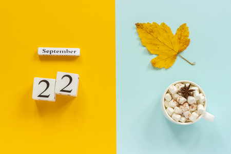 Autumn composition. Wooden calendar September 22, cup of cocoa with marshmallows and yellow autumn leaves on yellow blue background. Top view Flat lay Mockup Concept Hello September. Фото со стока