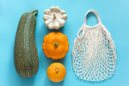Fresh harvest vegetables gourds pumpkin, zucchini, squash and reusable shopping eco-friendly mesh bag on blue background. Concept Organic vegetable and no plastic, zero waste. Top view Flat lay.