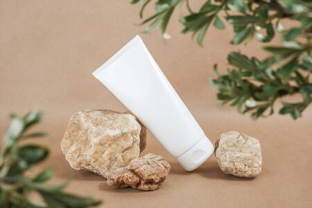 White blank cosmetic bottle tube on stone framed by green leaves of branches, beige background. Natural Organic Spa Cosmetic Beauty Concept. Front view Mock up.