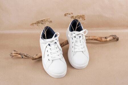 Ethical vegan shoes concept. A pair of white sneakers on the wooden snag, neutral beige craft paper background. Minimal style.