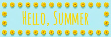 Text Hello summer. Flower composition. Floral frame border of yellow flowers Coreopsis on blue background. Template for your design Top view Flat Lay Banner.