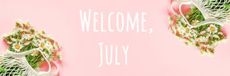 Welcome, July text. Bouquet of white chamomile in reusable shopping eco mesh bag on pink background. Concept Hello summer. Banner Top view. Banco de Imagens - 150262952