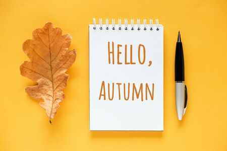 Hello Autumn text in notepad, dried orange oak leaf and pen on yellow background. Top view Flat lay Greeting card. Banco de Imagens - 150457556