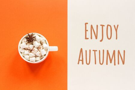 Enjoy Autumn text and cup of cocoa with marshmallows on orange beige background. Concept fall mood. Top view Flat lay Postcard.