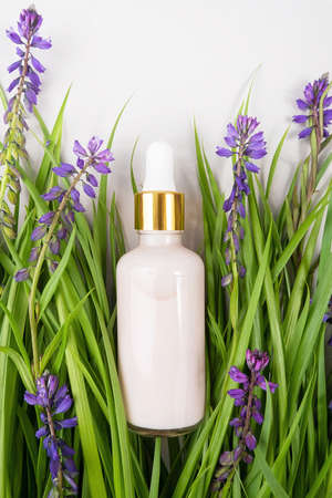 Pink anti-aging collagen, facial serum or other cosmetic product in glass bottle among the green grass, purple flowers on grey background. Natural Organic Spa Cosmetic concept Mockup. Banco de Imagens - 150627319