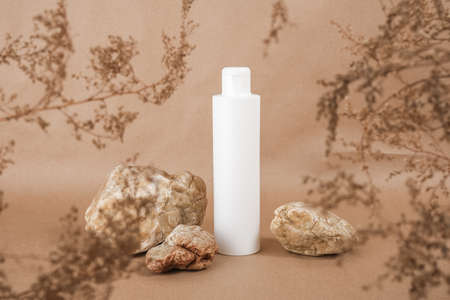 White blank cosmetic bottle with cream, moisturizing lotion or shampoo framed by dried plant flowers on beige craft paper background. Natural Organic Spa Cosmetic concept Front view. Zdjęcie Seryjne
