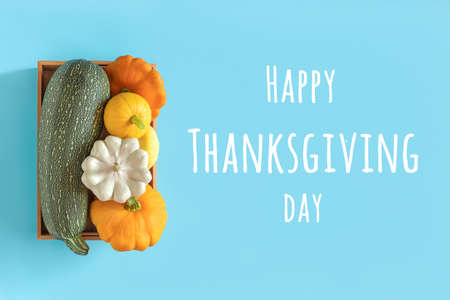 Happy Thanksgiving day text and harvest colored different vegetables gourds pumpkin, zucchini, squash in a wooden box on blue background. Top view Flat lay.