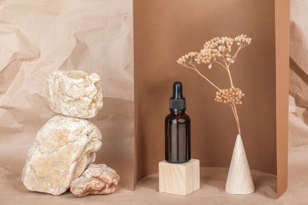 Serum, essential oils or fluid collagen in brown glass bottle with pipette on wooden geometric shapes, snone and dried flowers on beige, brownr background. Natural Organic Spa Cosmetic Beauty concept.