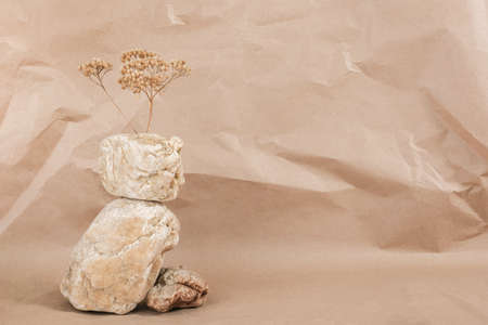 Layout made of from a pile of balancing stones and dry flower on craft beige background. Front view Copy space Monochrom.
